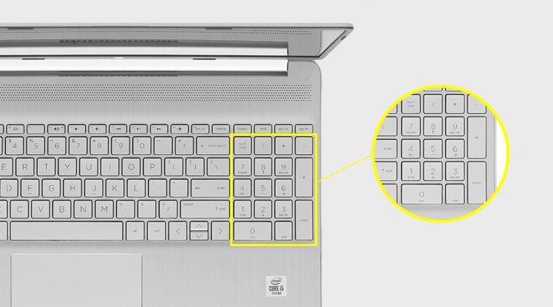 Laptop HP 15s fq1105TU i5 có cụm bàn phím số