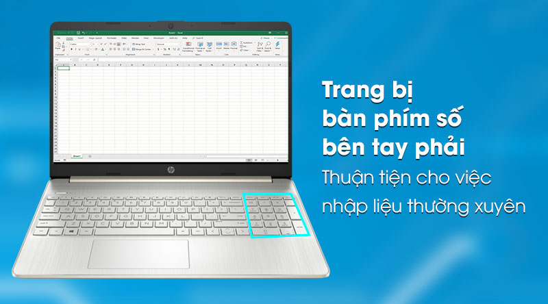 Laptop HP 15s fq0004TU (1A0D5PA) - Bàn phím số
