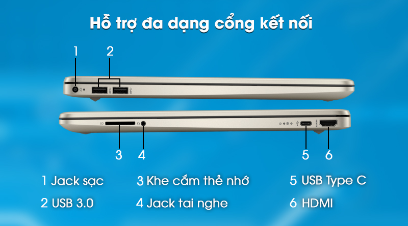 Laptop HP 15s fq0004TU (1A0D5PA) - Cổng kết nối