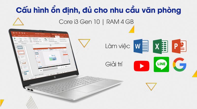 Laptop HP 15s fq1111TU i3 (193R0PA) có cấu hình ổn định