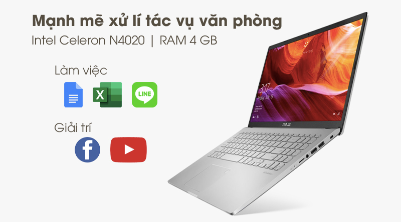 Laptop Asus VivoBook X509MA (BR271T) | Intel Celeron N4020 và RAM 4 GB