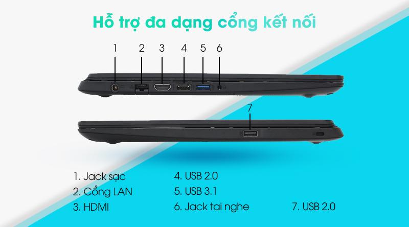 Acer Aspire 3 A315 56 58EB | Có các cổng kết nối thông dụng