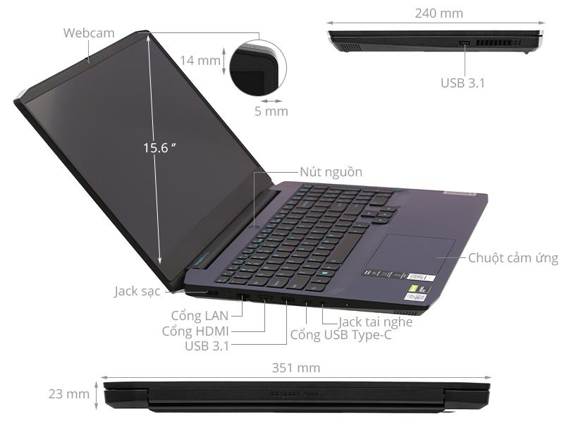Lenovo IdeaPad Gaming 3 15IMH05 i7 10750H/8GB/512GB/4GB GTX1650/Win10 (81Y40068VN)