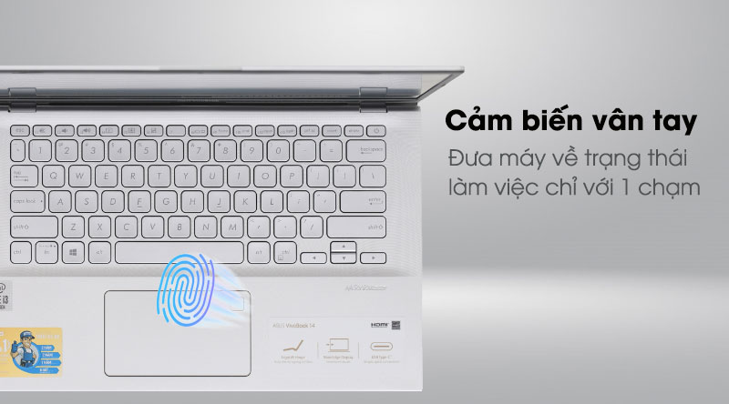 Asus VivoBook A412FA i3 10110U/4GB/512GB/Win10 (EK1175T) -Mở khóa vân tay