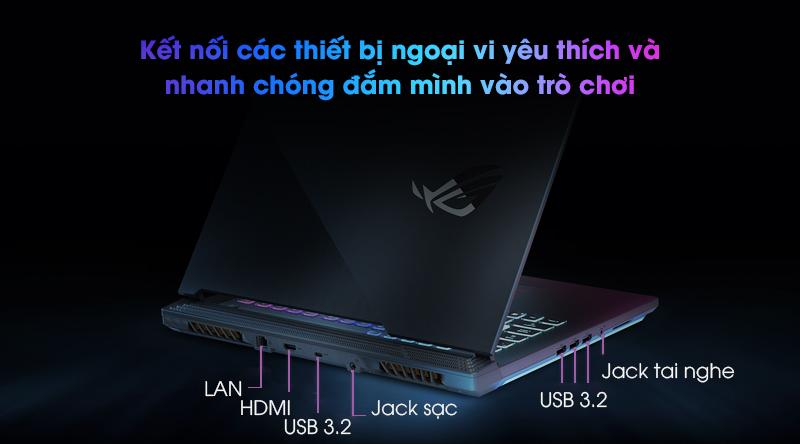 Khả năng kết nối cũng là một điểm mạnh của chiếc laptop Asus Gaming Rog Strix