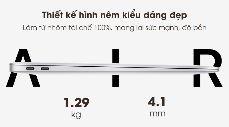 Laptop Apple Macbook Air 2020 i5 (Z0YJ) | Thiết kế cao cấp với vỏ kim loại nguyên khối