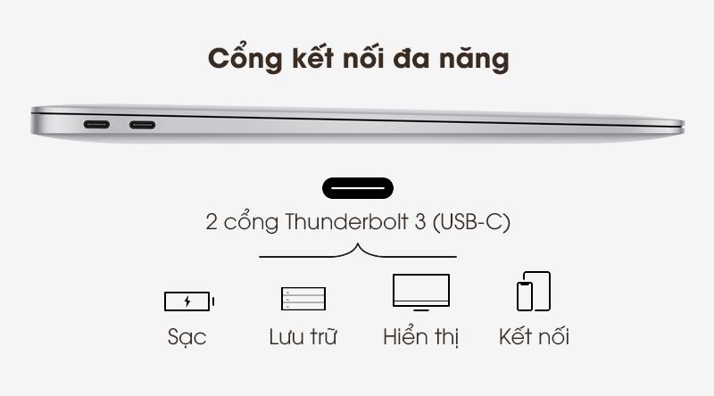 Laptop Apple Macbook Air 2020 i5 (Z0YJ) | Cổng Thunderbolt 3 với tốc độ cao
