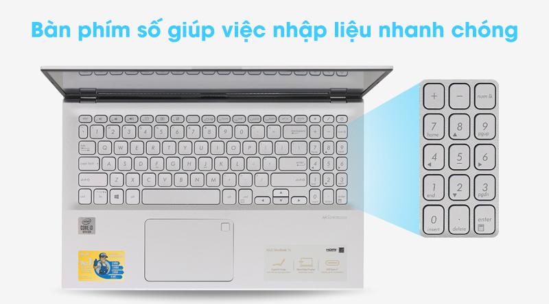 Asus VivoBook A512FA i3 (EJ2033T) được trang bị cụm phím số riêng biệt