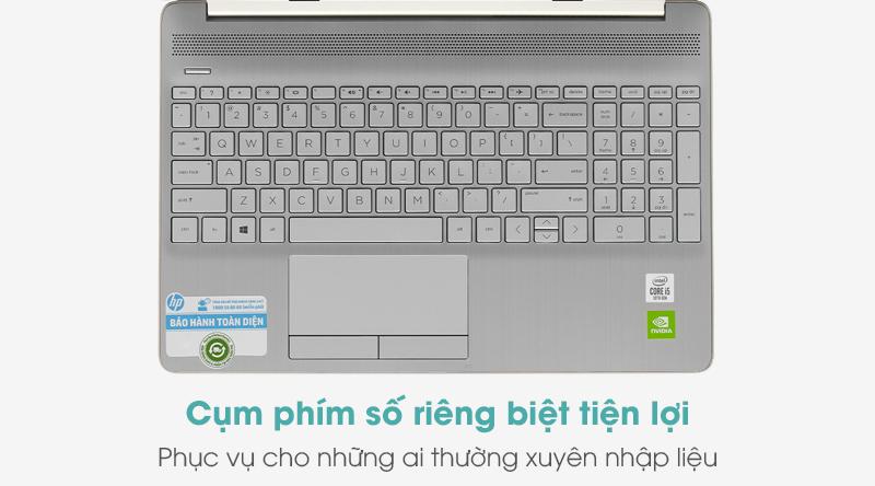 Laptop HP 15s du1076TX i5 10210U có hành trình phím vừa phải