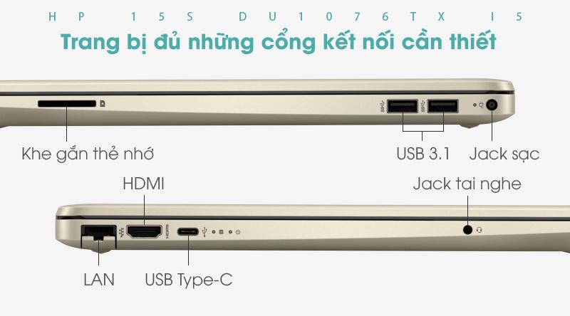 Laptop HP 15s du1076TX i5 10210U được trang bị đủ những cổng kết nối cần thiết