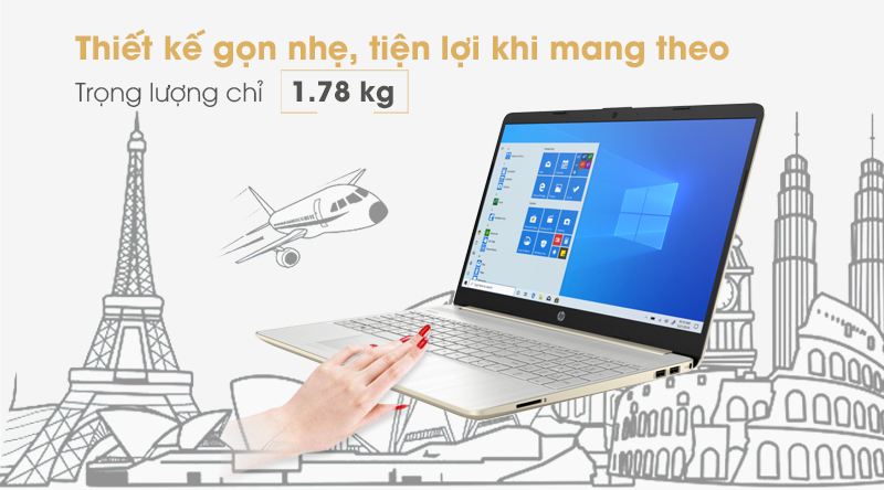Laptop HP 15s   Thiết kế tinh tế và sang trọng