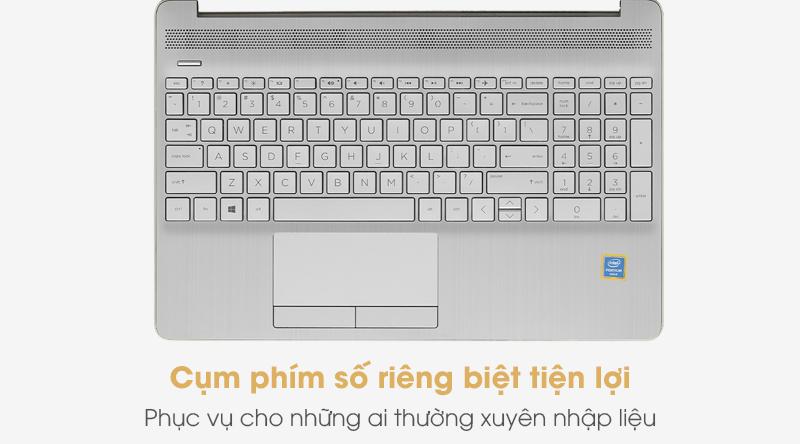 Bàn phím của laptop HP 15s du1056TU 6405U (1W7R5PA) được trang bị thêm cụm phím số