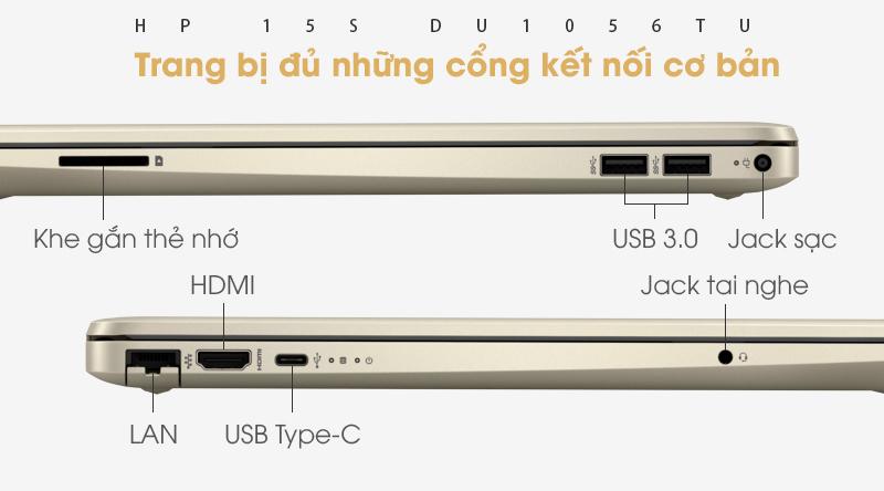 Laptop HP 15s có đầy đủ các loại cổng kết nối