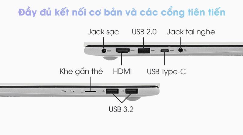 Asus VivoBook S433FA được trang bị đầy đủ các cổng kết nối truyền thống