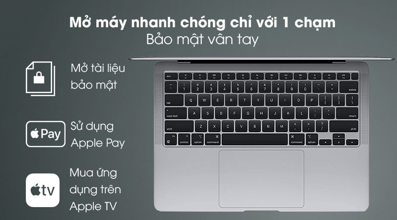 Apple Macbook Air M1 (MGN73SA/A) - Vân tay