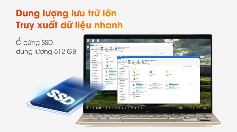 HP trang bị cho máy ổ cứng SSD 512 GB siêu tốc, chạy mượt ở mọi tác vụ