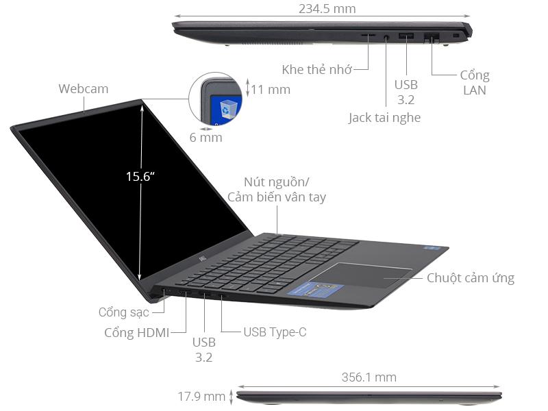 Laptop Dell Vostro 5502 i5 1135G7/8GB/256GB/Win10 (70231340)