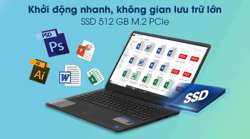 Laptop Dell Inspiron 3501 i5 (P90F005N3501B) - Ổ cứng SSD