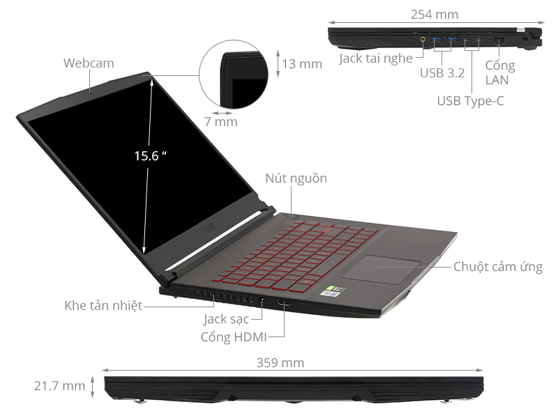 MSI GF65 Thin 10UE i5 10500H/16GB/512GB/6GB RTX3060 Max-Q/144Hz/Balo/Chuột/Win10 (297VN)