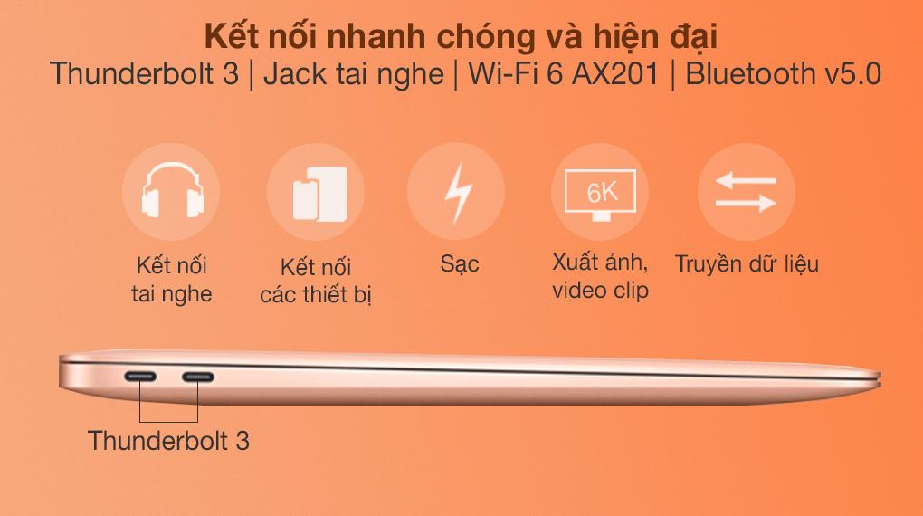 MacBook Air M1 2020 Gold (Z12A00050) - Cổng kết nối
