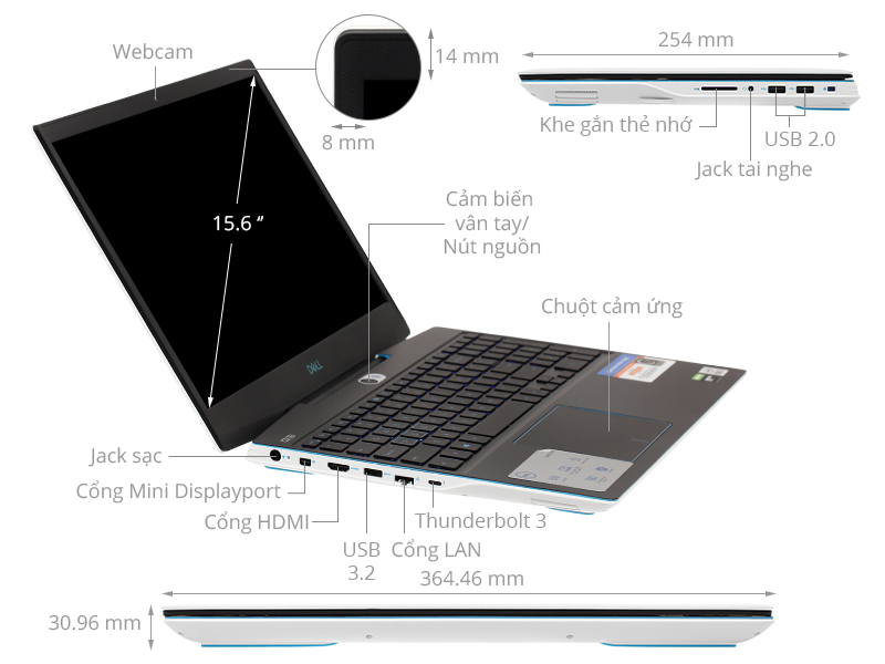 Dell Gaming G3 15 i7 10750H/16GB/512GB/6GB GTX1660Ti/120Hz/Win10 (P89F002BWH)
