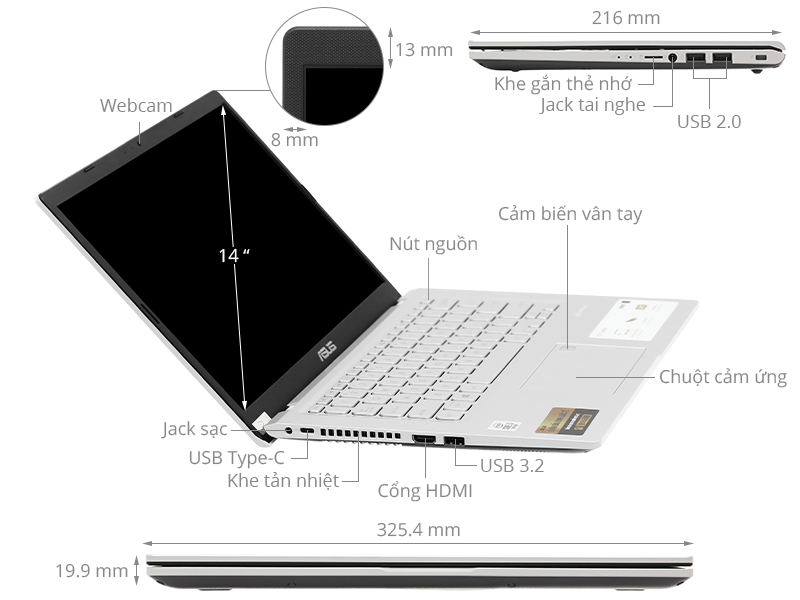 Asus VivoBook X415EA i3 1115G4/4GB/512GB/Win10 (EB263T)
