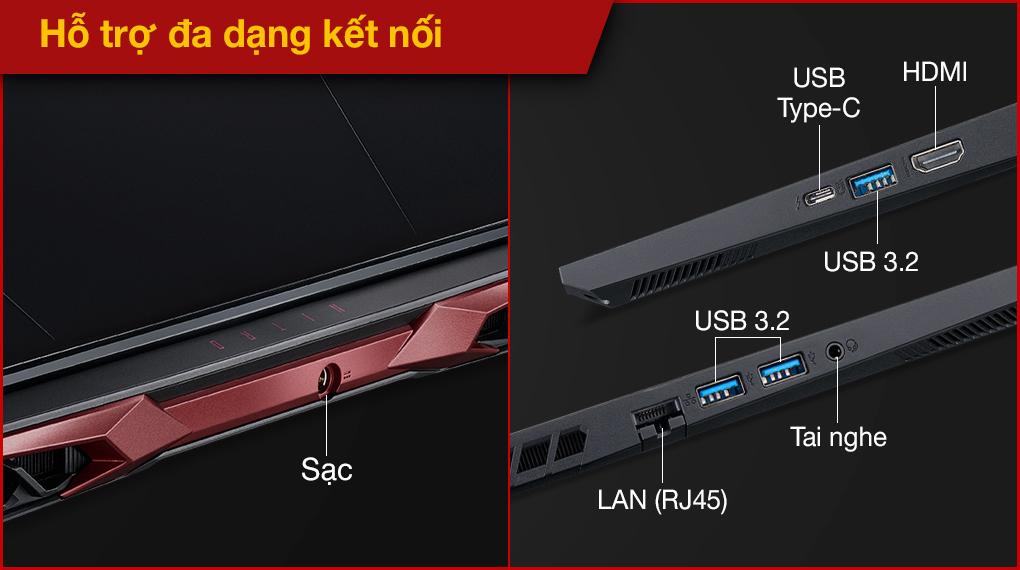 Acer Nitro 5 Gaming AN515 57 74NU i7 11800H (NH.QD9SV.001.) - Cổng kết nối