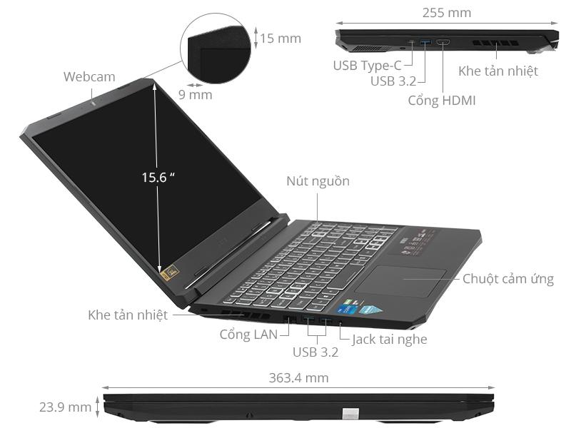 Acer Nitro 5 Gaming AN515 57 50FT i5 11400H/16GB/512GB/4GB RTX3050/144Hz/Win10 (NH.QD8SV.003)