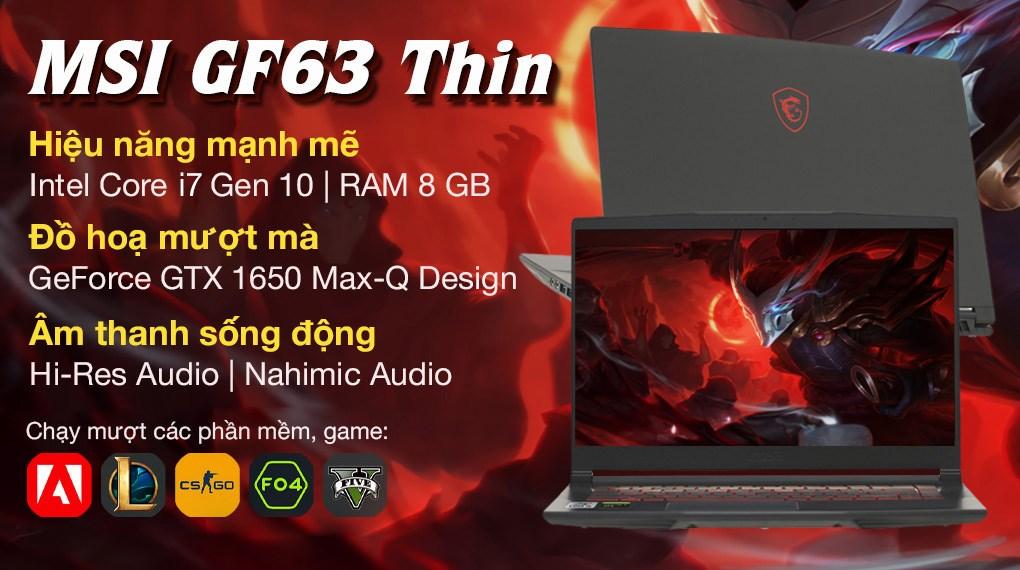 MSI Gaming GF63 Thin 10SC i7 10750H (480VN)