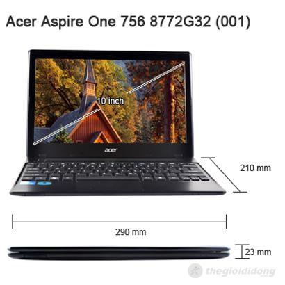 Kích thước Acer Aspire One 756