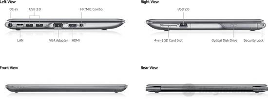 Hai bên hông Samsung series 5 530U4C được bố trí đầy đủ các chuẩn kết nối