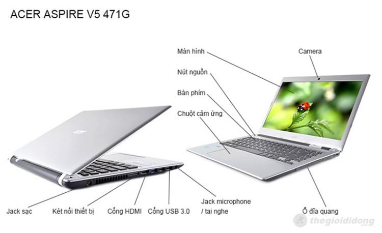 Mô tả chức năng của laptop Acer Aspire V5 471G 33214G50Ma
