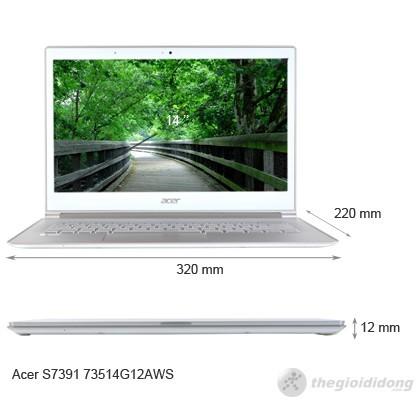 Kích thước của Acer Aspire S7 391 73514G12aws