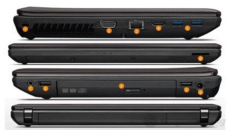 Chi tiết các cổng kết nối và các phần khác của Lenovo G480 từ 4 góc