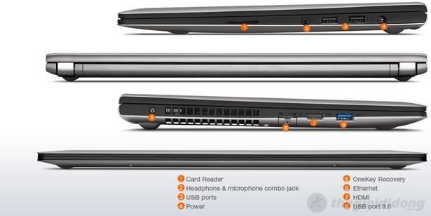Lenovo S400 vẫn hỗ trợ đầy đủ các  cổng kết nối và một phím bấm thông minh
