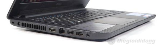 Cạnh trái Dell Inspiron 14 N3421 là khóa Kensington, jack nguồn, HDMI, LAN, 2xUSB 3.0, jack combo 3.5mm head phone/míc