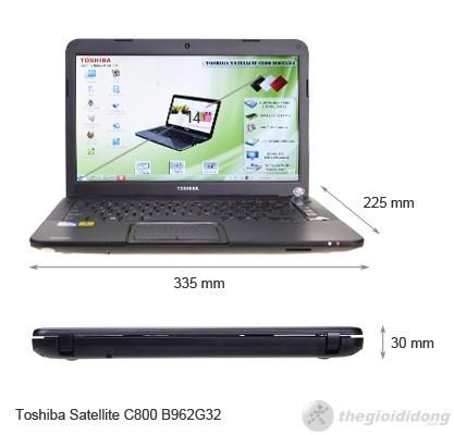 Kích thước của Toshiba Satellite C800 B962G32