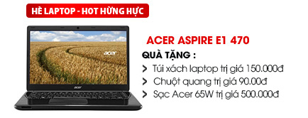 Laptop Acer aspire E1 470 i3 3217U/2G/500G