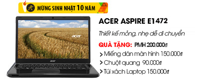 Laptop Acer Aspire E1 472 i3 4010U/2G/500G
