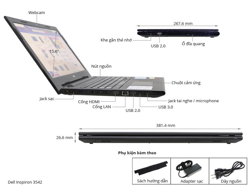 Thông số kỹ thuật Dell Inspiron 3542 54214G50G