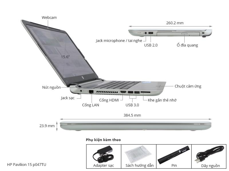 Thông số kỹ thuật HP Pavilion 15 p047TU i3 4030U/4G/500G/Win8.1