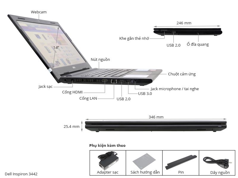 Thông số kỹ thuật Dell Inspiron 3442 i3 4005U/4G/500G/Win8.1
