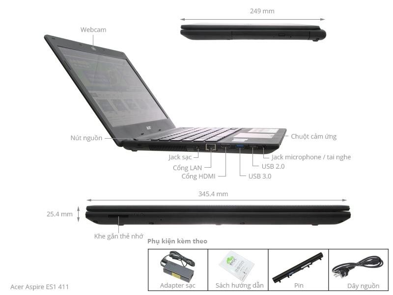 Thông số kỹ thuật Acer Aspire ES1 411 N3540/4G/500G/Win8.1