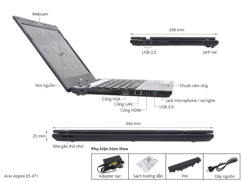 Thông số kỹ thuật Acer Aspire E5 471 i3 4005U/4G/500G/Win8.1/Không DVD