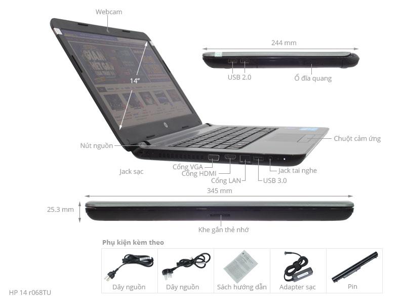 Thông số kỹ thuật HP 14 r068TU i3-4030U/4G/500G/Win8.1