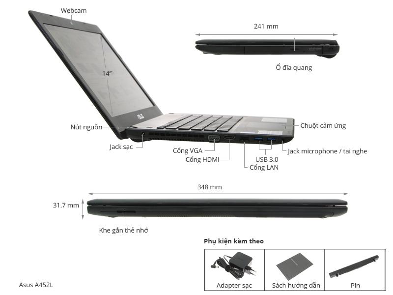 Thông số kỹ thuật Asus X452LAV i3 4030U/2GB/500GB/Win 8.1