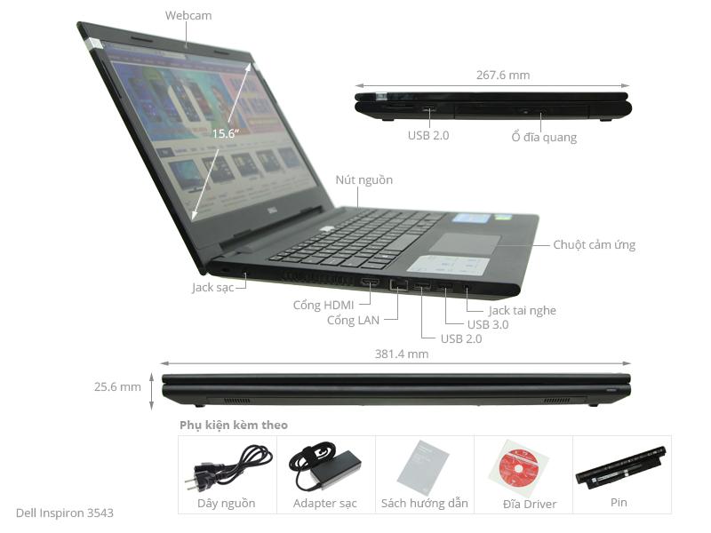 Thông số kỹ thuật Dell Inspiron 3543 i5 5200U/4G/500G/VGA2GB/Win8.1