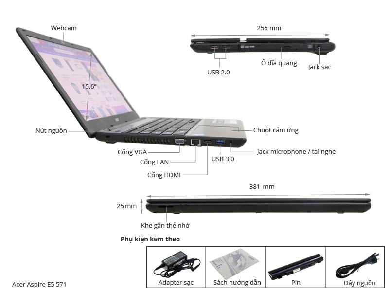 Thông số kỹ thuật Acer Aspire E5 571 i5 5200U/4GB/500GB/Win8.1