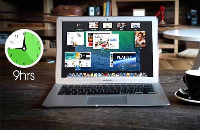 macbook air có thời lượng sử dụng lên đến 9h