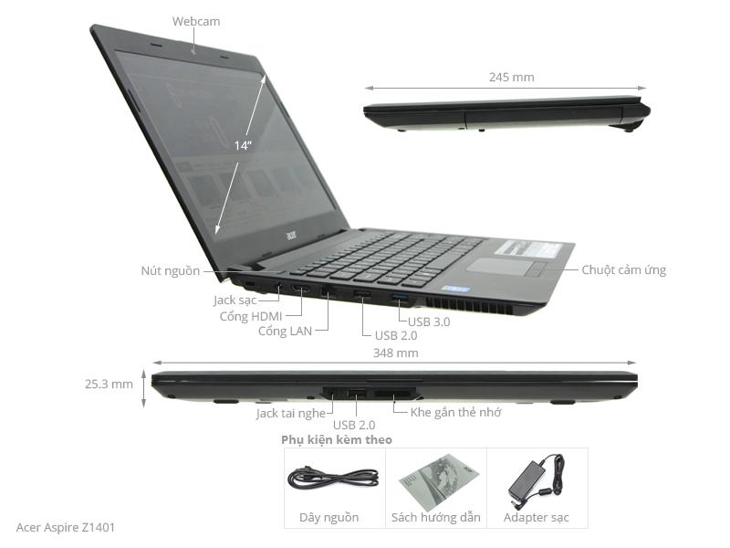 Thông số kỹ thuật Acer Aspire Z1401 N2940/4GB/500GB/Win8.1